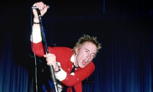 Johnny Rotten (John Lydon) performing live onstage at Dunstable's Queensway Hall in 1976