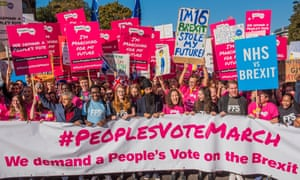 Ssadiq Khan joins young people at the front of The People's Vote in London