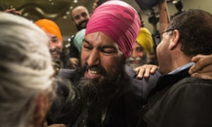 Jagmeet Singh celebrates with supporters after his first-ballot triumph in the contest for leader of the leftist New Democrat party in Toronto on Sunday.