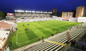 Rayo Vallecano's Campo de Fútbol de Vallecas, a local stadium for local people, where one end is quite literally a wall.