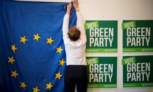 Preparing the launch of the Green party's European election campaign in London last week.