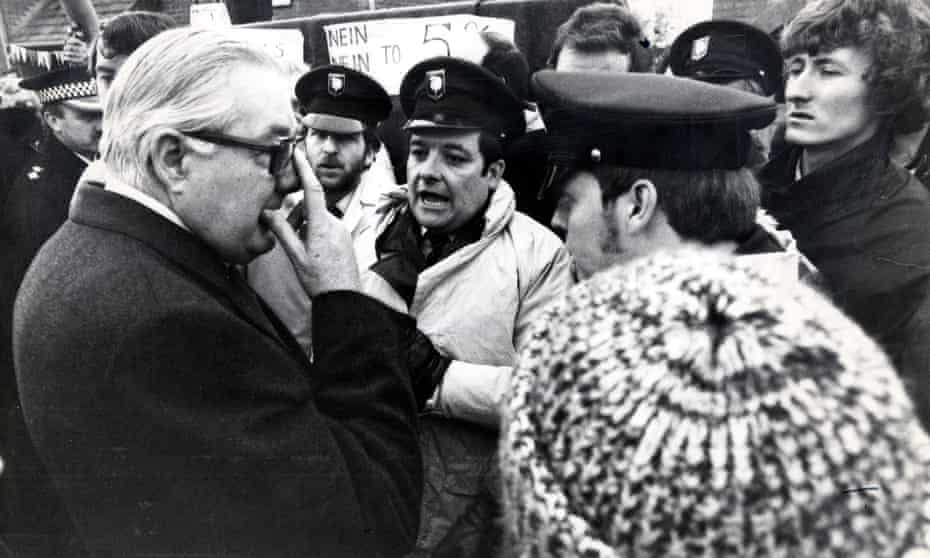 Labour PM James Callaghan is confronted by ambulance drivers during the winter of discontent.