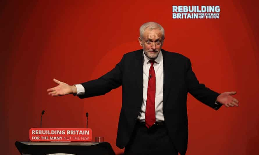 Jeremy Corbyn acknowledges delegates following his keynote speech on day four of the Labour party conference.
