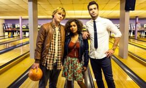 Dylan (Johnny Flynn), Evie (Antonia Thomas), Luke (Daniel Ings) in Scrotal Recall.