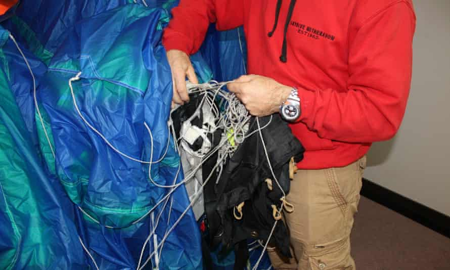 A police image showing the parachute that was tampered with by Emile Cilliers.