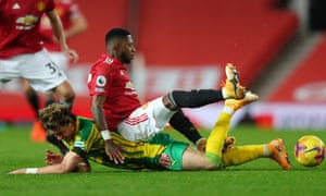 West Bromwich Albion's Conor Gallagher (left) is tackled by Manchester United's Fred.
