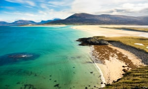 Seilebost beach on Harris in the Outer Hebrides of Scotland.