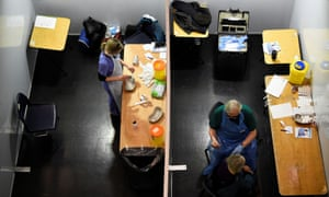 COVID-19 vaccinations in DublinHealthcare workers prepare and administer Pfizer vaccines at the HSE (Health Service Executive) mass vaccination centre for people over 85 years old at The Helix theatre, amid the outbreak of the coronavirus disease (COVID-19), in Dublin, Ireland