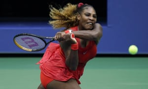Serena Williams batters a backhand to Kristie Ahn during her victory.