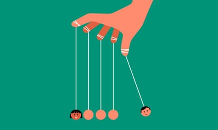 Hand holding Newton's Cradle with male and female faces on opposite ends