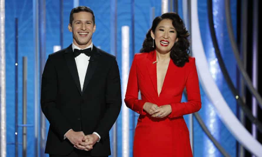 Andy Samberg and Sandra Oh at the 76th Annual Golden Globe Awards.