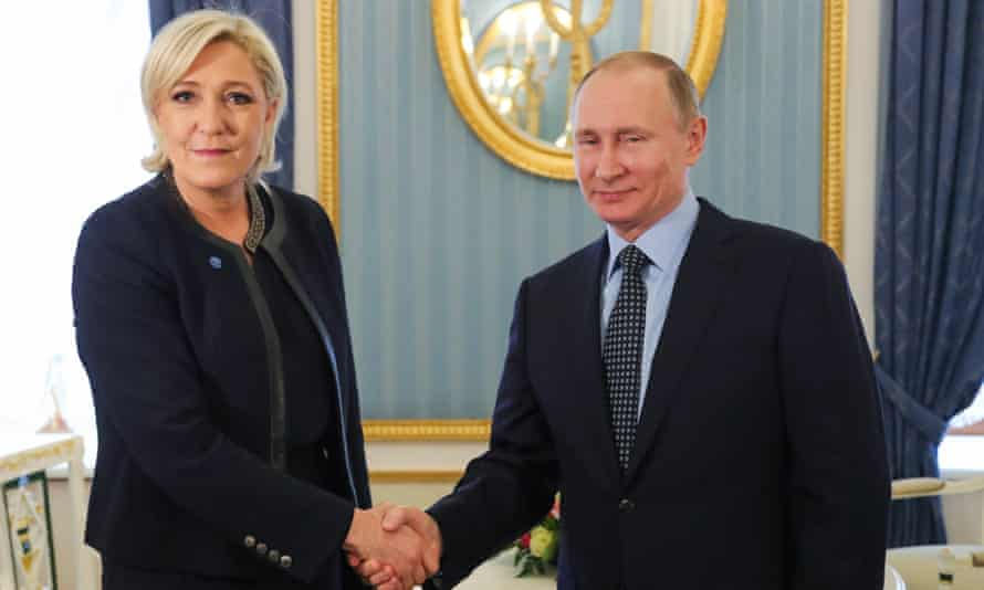 Marine Le Pen met Vladimir Putin in Moscow in March. The French presidential hopeful has visited Russia several times in recent years.