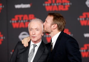 Actor Anthony Daniels (L) and director Rian Johnson.