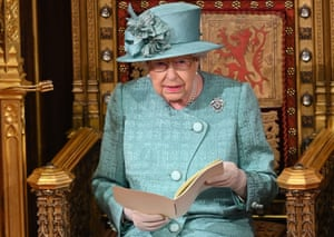 Queen Elizabeth II delivers the Queen's speech in the House of Lords during the state opening of parliament on 19 December.