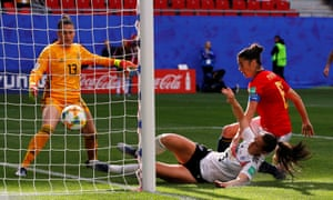 Sara Däbritz bundles the ball over the line to give Germany the lead.