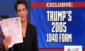 MSNBC's Rachel Maddow reveals leaked pages of Donald Trump's 2005 tax return.