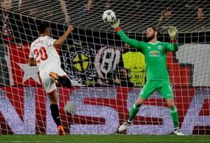 David de Gea makes a stunning save to deny Sevilla's Luis Muriel during their Champions League tie.