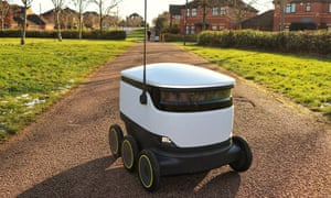 Pedestrians go about their daily lives as Starship Technologies autonomous robots make routine grocery deliveries around Milton Keynes.