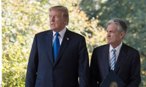 The US president, Donald Trump, with Jerome Powell, chairman of the Federal Reserve.