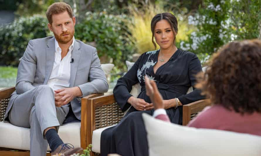 Oprah Winfrey interviewing the Duke and Duchess of Sussex.