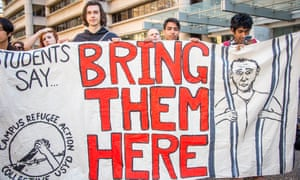 'Bring them here' protest sign