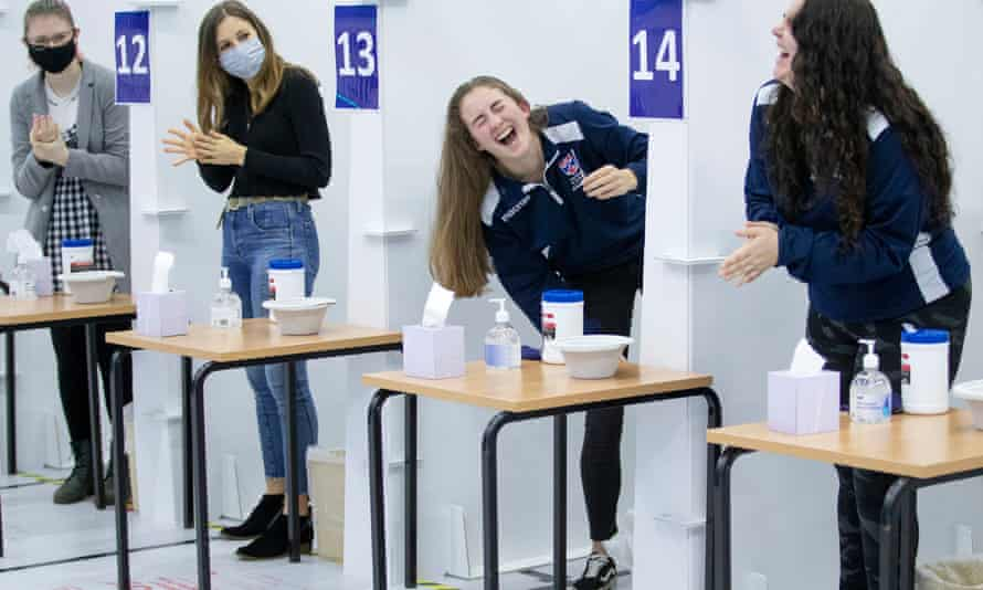 Students get a Covid-19 test at St Andrews University