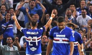 Sampdoria's Fabio Quagliarella celebrates scoring their third goal against Napoli.