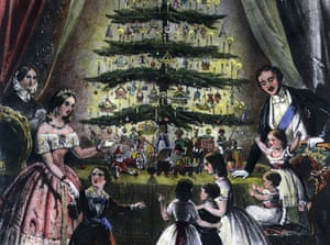 The royal Christmas tree is admired by Queen Victoria, Prince Albert and their children in an illustration from 1848. The British tradition of having Christmas trees dates from this year.