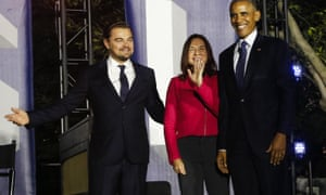 Leonardo DiCaprio, Katharine Hayhoe and Barack Obama at the White House for a discussion on the climate crisis, in 2016.