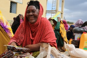 Fatima Haji Ali receives a food pack in Somalia