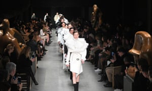 A patriotic march down the Burberry catwalk AW17 at London fashion week.