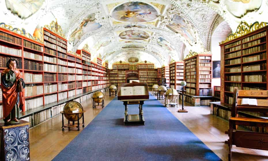 The Strahov Library in Prague. Its collection dates back to the 12th century, when the monastery was founded. Many books disappeared when Swedish troops invaded Prague in 1648 and took books back with them.