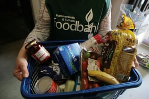 Food basket at the Hammersmith and Fulham food bank.