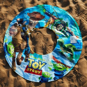 An abandoned Toy Story inflatable ring