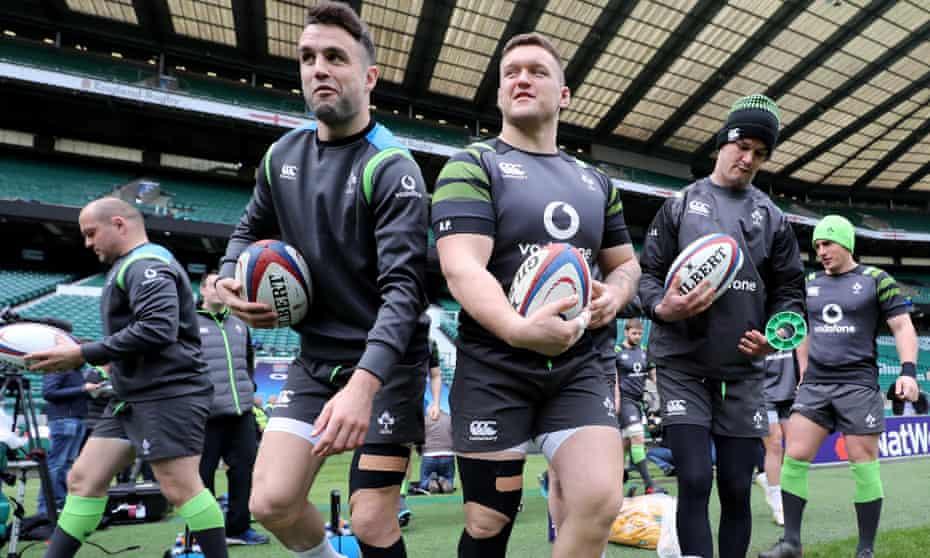 Ireland players go through their final preparations at Twickenham on Friday.