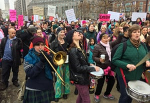 Protesters gather for the Women's March on Philadelphia a day after Republican Donald Trump's inauguration as president