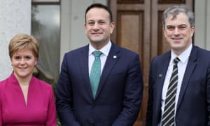 Nicola Sturgeon, the Scottish first minister, Taioseach Leo Varadkar (centre) and Secretary of State for Northern Ireland Julian Smith at the British Irish Council in Dublin.