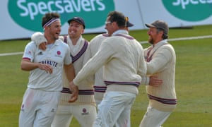 Somerset players celebrate after beating Nottinghamshire.