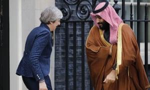 Theresa May greets Saudi Arabia's crown prince Mohammed bin Salman outside 10 Downing Street.