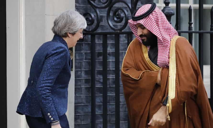 Theresa May greeting Crown Prince Mohammed bin Salman outside 10 Downing Street