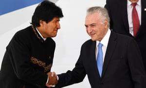 Bolivia's president, Evo Morales, and Brazil's president, Michel Temer