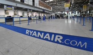 a barrier fences off the ryanair check-in desks