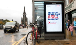 Government posters along Edinburgh's Princes Street advising people to prepare for Brexit.