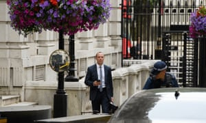 Dominic Raab outside 9 Downing Street, where the Department for Exiting the EU is based.