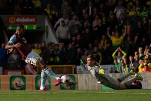 Norwich City goalkeeper Michael McGovern dives to save Wesley's strike on the rebound after missing a penalty. Aston Villa sent five past McGovern to win 5-1 at Carrow Road. McGovern became the seventh goalkeeper to save a penalty on their first ever Premier League start, and the first since Neil Etheridge for Cardiff against Bournemouth last season.