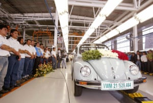 The last classic-style Beetle rolls off the production line in Puebla, Mexico in July, 2003.