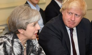 """Brexit<br>File photo dated 12/6/2017 of Prime Minister Theresa May with Boris Johnson as Johnson backs May's Brexit plan """"100%"""" despite claims he could welcome an easing up on the Prime Minister's """"red lines"""" for negotiations, a source close to the Foreign Secretary has said. PRESS ASSOCIATION Photo. Issue date: Sunday July 2, 2017. It comes after Brexit Secretary David Davis's former chief of staff James Chapman claimed Mrs May's insistence on leaving the jurisdiction of the European Court of Justice (ECJ) had """"hamstrung"""" his ex-boss in negotiations.  See PA story POLITICS Brexit. Photo credit should read: Leon Neal/PA Wire"""