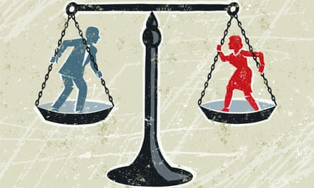 Man and Woman Being Weighed on Scales Credit: Meriel Jane Waissman Creative #: 165793283 Equality! A stylized vector cartoon of a man and a woman being weighed on scales,reminiscent of an old screen print poster and suggesting battle of the sexes, woman's rights, equality, opposites or gender issues,. Man, woman, scales,paper texture and background are on different layers for easy editing. Please note: clipping paths have been used, an eps version is included without the path. GettyImages-165793283