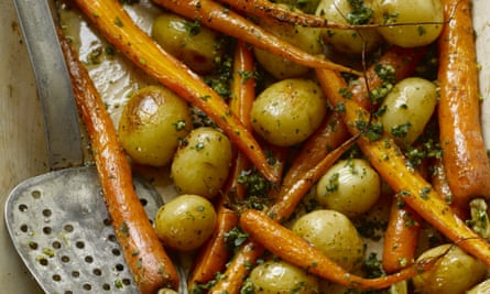 Hugh Fearnley-Whittingstall's roast carrots and new potatoes with gremolata