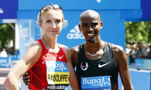 Paula Radcliffe and Mo Farah, who makes his final appearance of the season in Sunday's Great North Run.